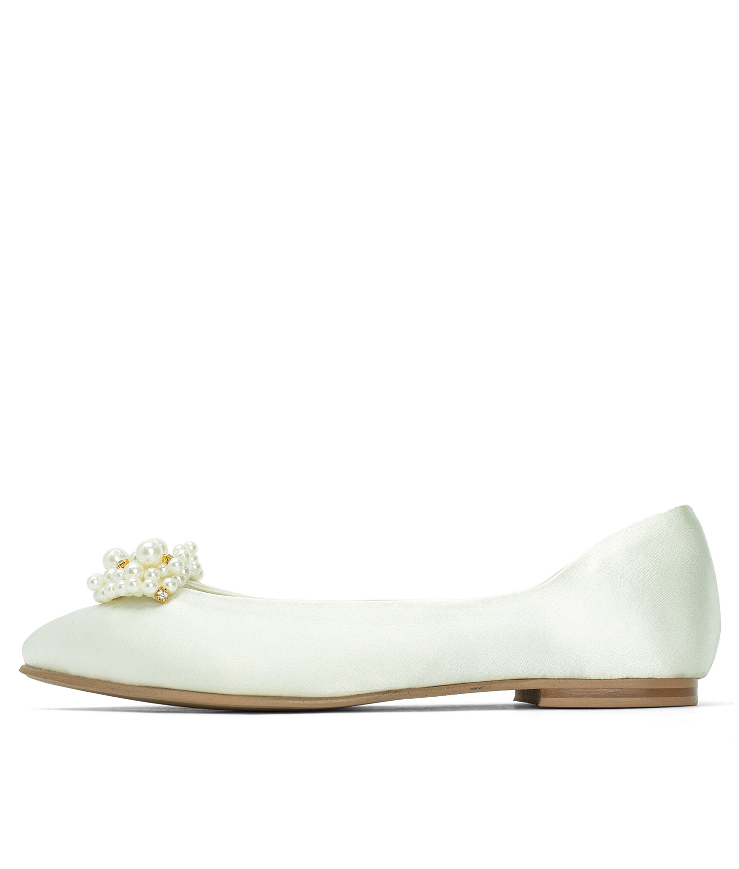 Pearly Beads Ivory Satin Comfortable Wedding Shoes