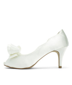 Double Bow Ivory Satin Wedding Heels