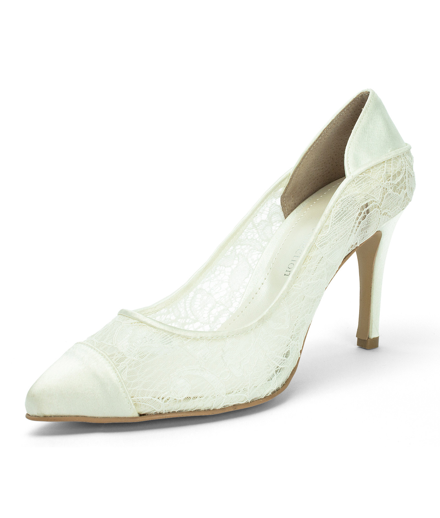 Ivory Lace Wedding Heels with Satin Bow