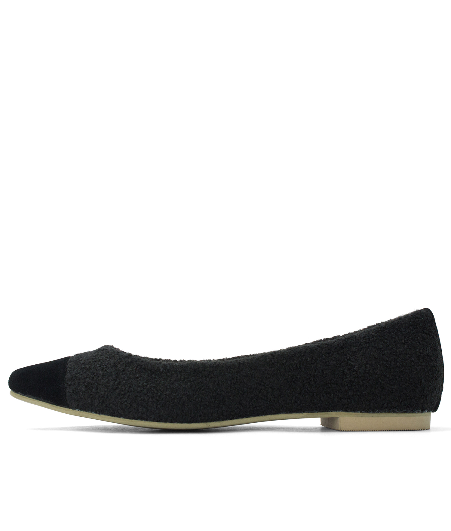 Boucle Pointy Toe Ballet Flats Black