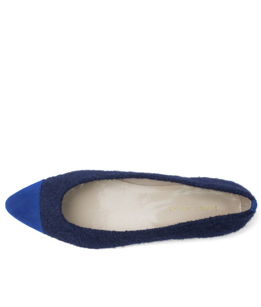 Boucle Pointy Toe Ballet Flats Blue
