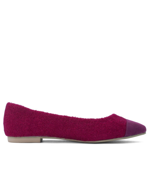Boucle Pointy Toe Ballet Flats DeepPink