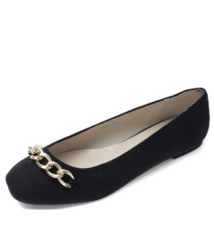 Romantic Chain Link Ballet Flats Black