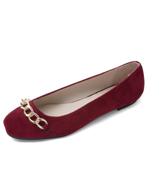 Romantic Chain Link Ballet Flats Red