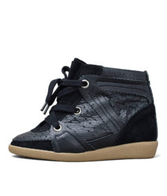 Hi-Top Leather Suede Wedge Sneakers Black
