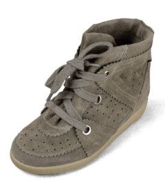 Hi-Top Suede Hidden Wedge Sneakers KhakiBrown
