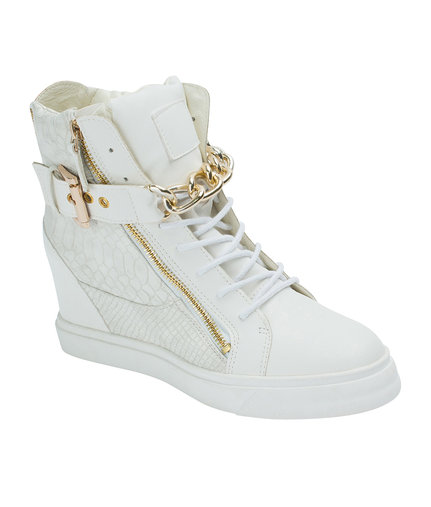 AnnaKastle Womens Gold Chain High Top Wedge Sneakers White