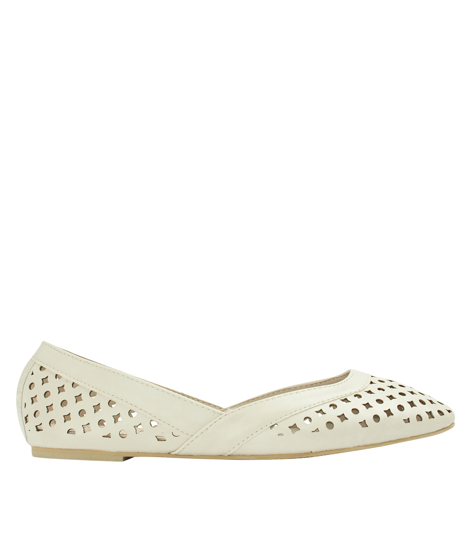 AnnaKastle Womens Geometric Cut Out Flat Shoes Beige
