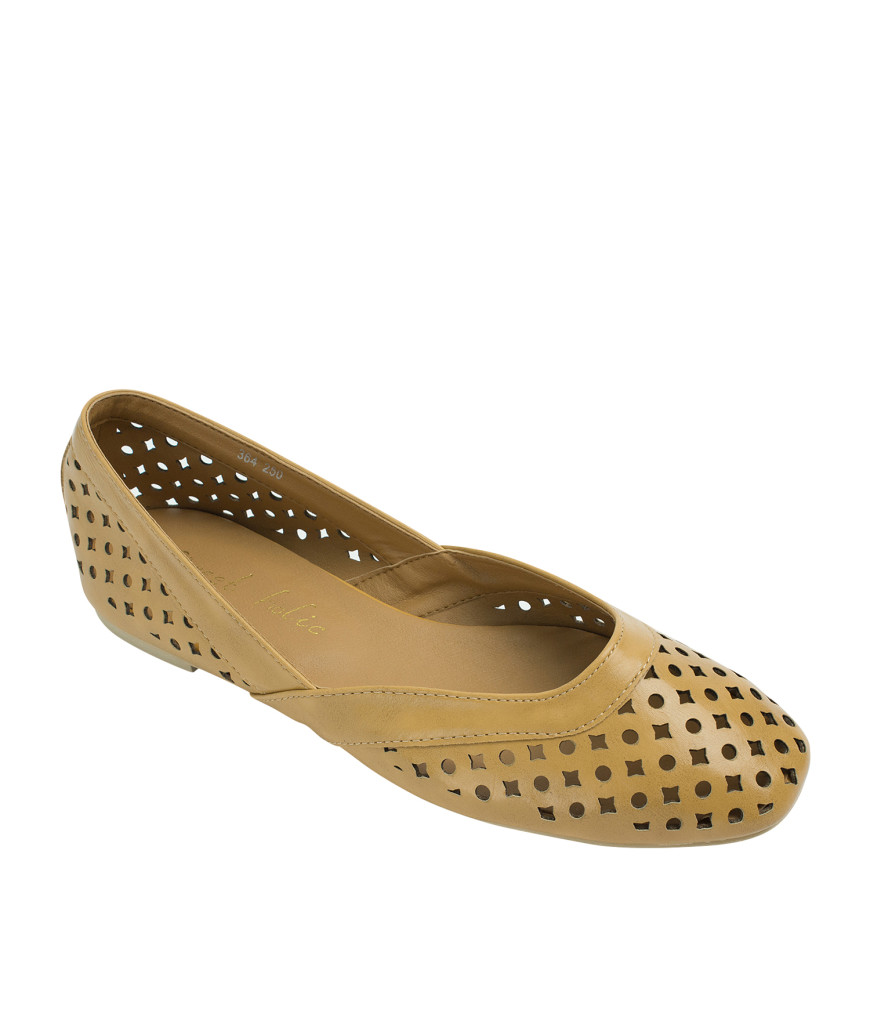 AnnaKastle Womens Geometric Cut Out Flat Shoes EarthYellow