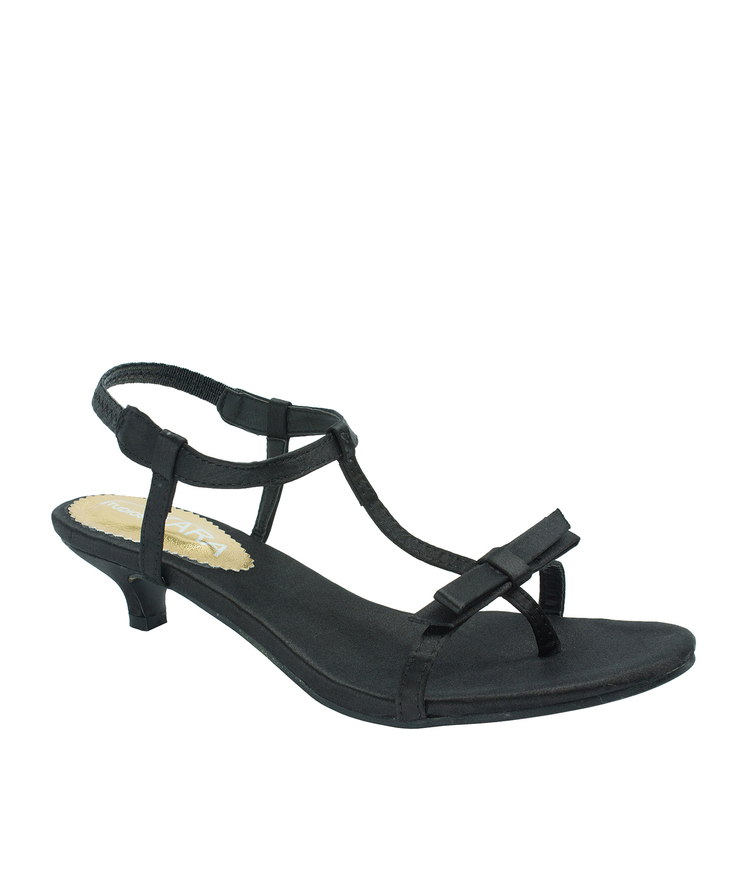 AnnaKastle Bow Detail Black T-Strap Sandals