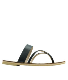 AnnaKastle Crisscross Toe Ring Flat Sandals Black