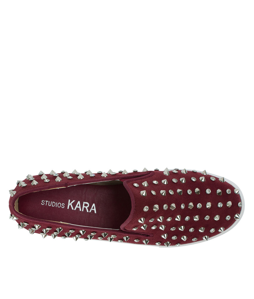 AnnaKastle Stree-Chic Studded Slip-On Sneakers Wine