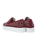 CR4124-AnnaKastle-Stree-Chic-Studded-Slip-On-Sneakers-Wine-08