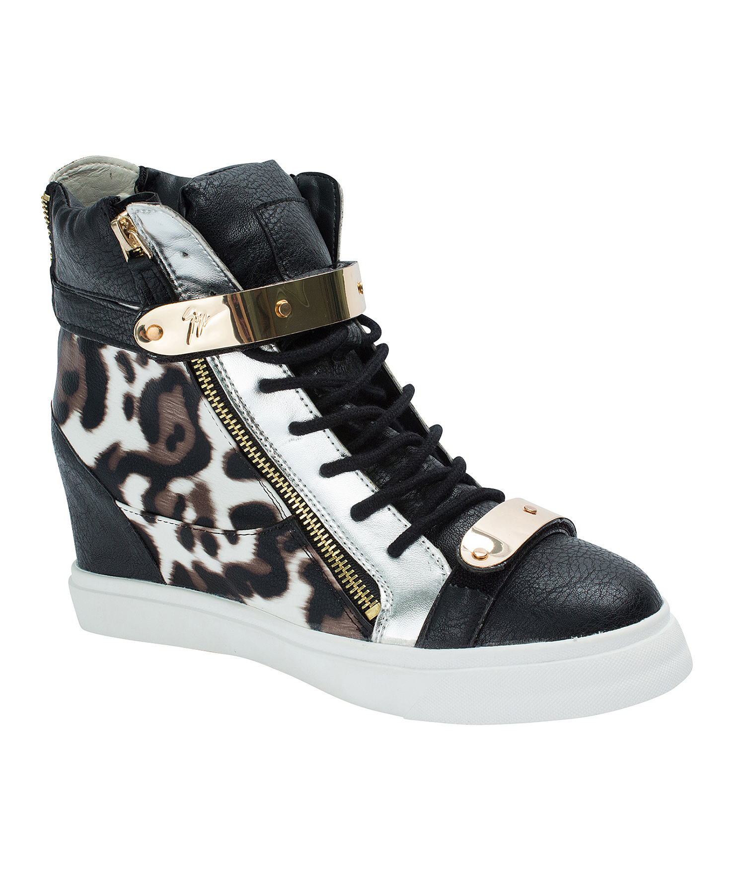 AnnaKastle Womens Leopard High-Top Metal Strap Sneakers
