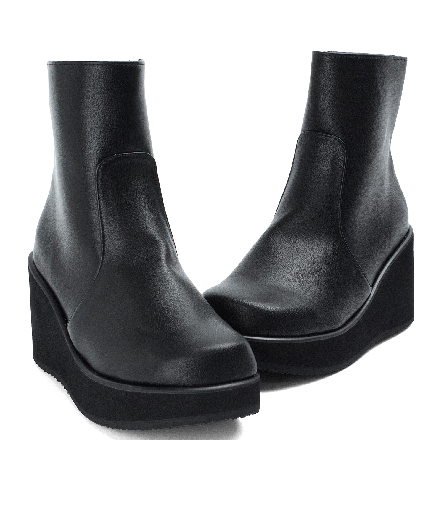 Lightweighted Platform Black Wedge Ankle Boots - annakastleshoes.com