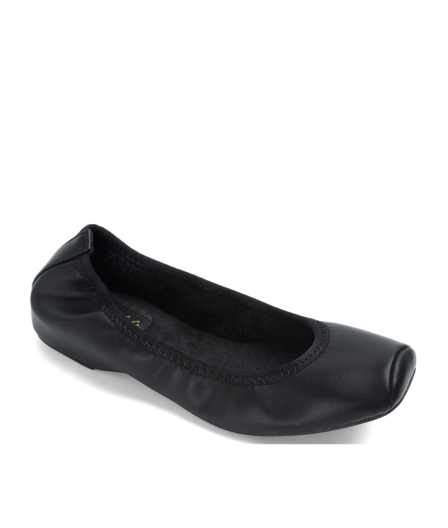Snub-Toe Elastic Hidden Wedge Ballet Flats Black Fur Lining