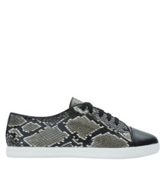 AnnaKastle Black Python Embossed Cap Toe Sneakers