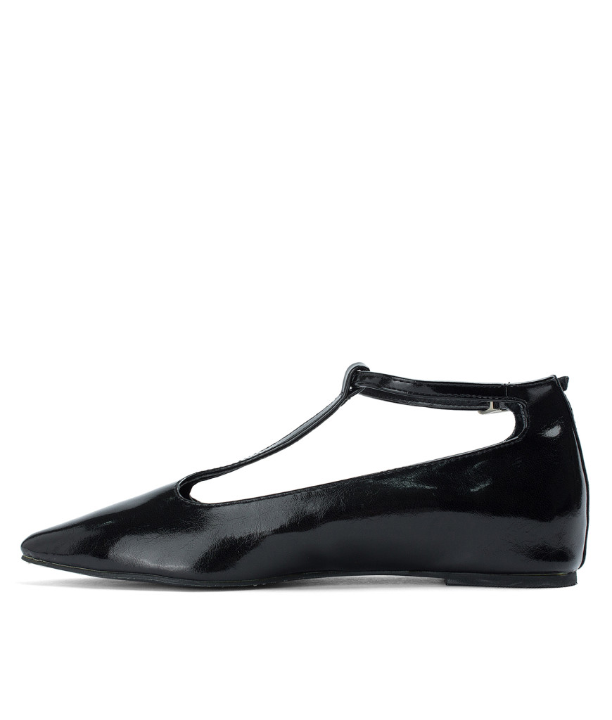 AnnaKastle T-strap Mary Jane Hidden Wedge Flats Black