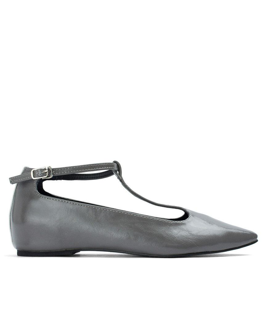 AnnaKastle T-strap Mary Jane Hidden Wedge Flats Gray