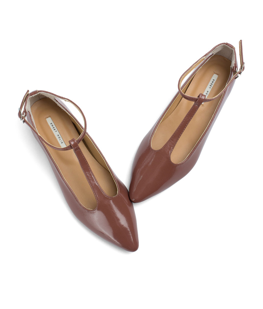 AnnaKastle T-strap Mary Jane Hidden Wedge Flats Redwood