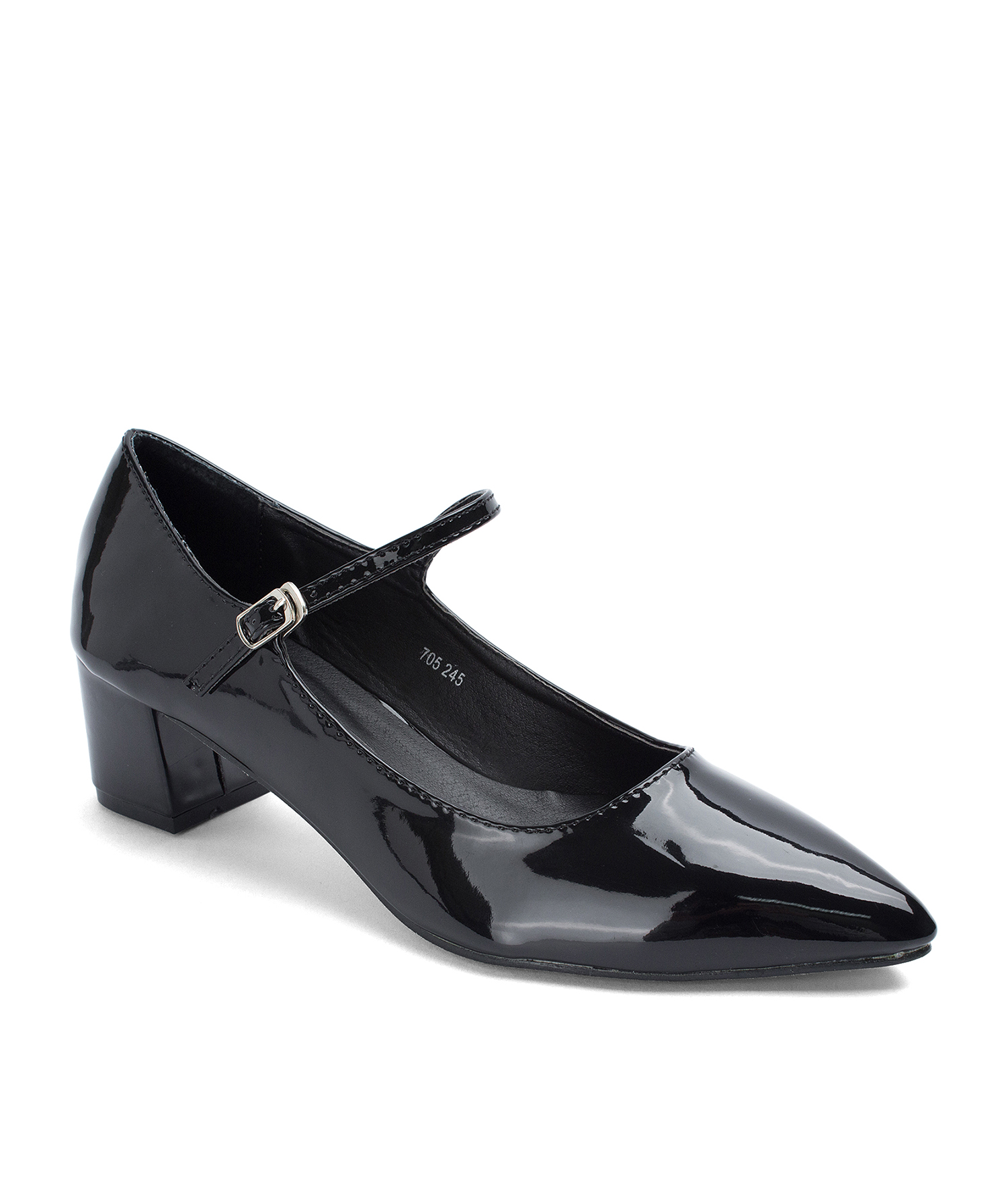 AnnaKastle Pointed Toe Patent Mary Jane Pumps Black