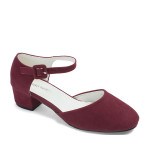 AnnaKastle Faux Suede d'Orsay Ankle Wrap Pumps Burgundy