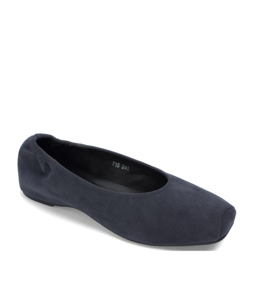 AnnaKastle Faux Suede Snub-Toe Ballerina Wedges Charcoal