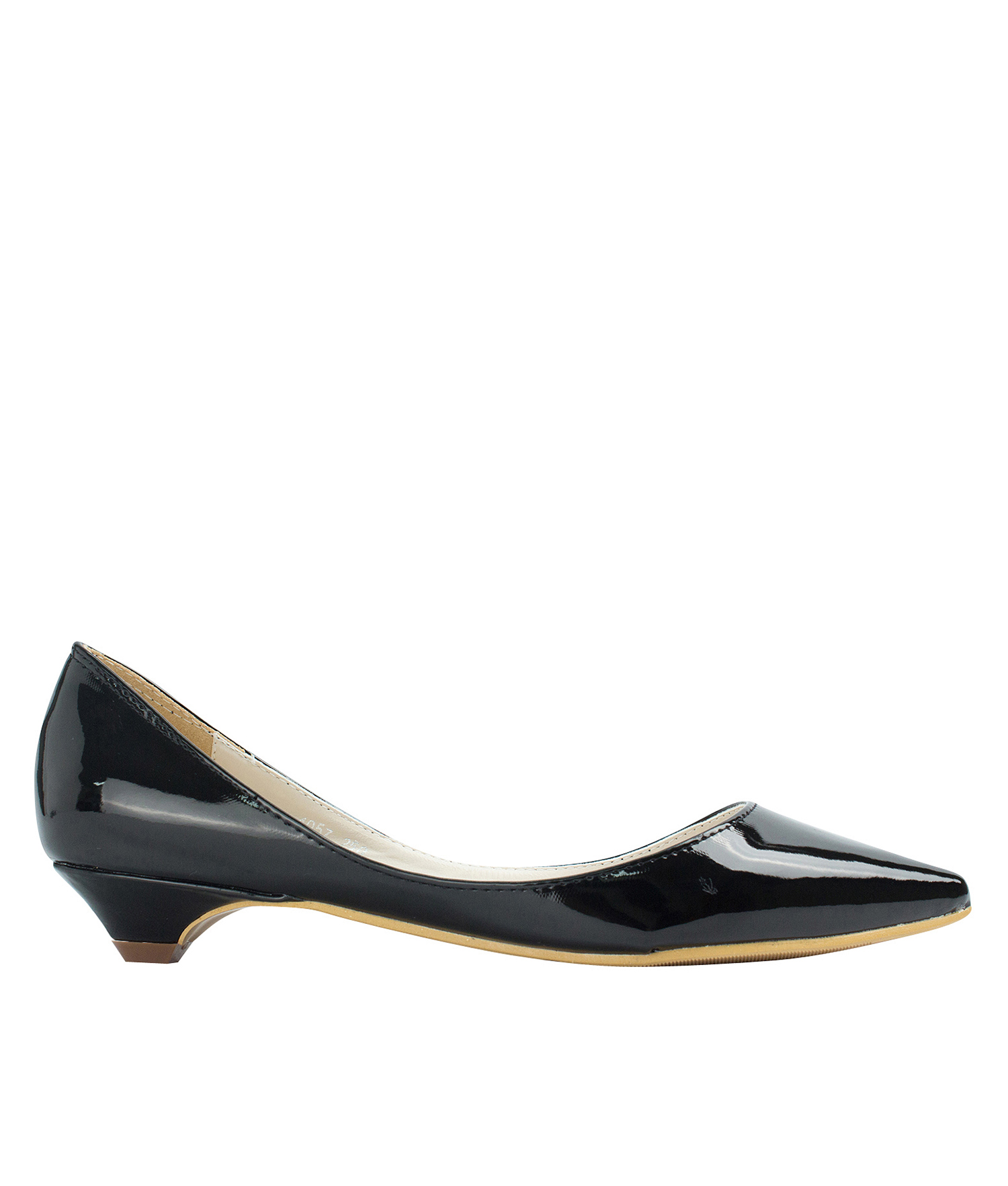 Pointed Toe Patent Low Kitten Heel Pumps - annakastleshoes.com