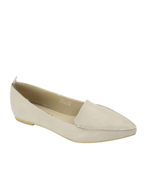 AnnaKastle Sleek Pointed Toe Womens Smoking Slippers Beige