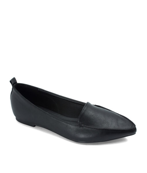 AnnaKastle Sleek Pointed Toe Womens Smoking Slippers Black