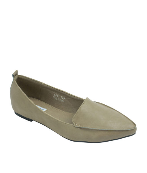 Annakastle Sleek Pointed Toe Womens Smoking Slippers Dark Beige