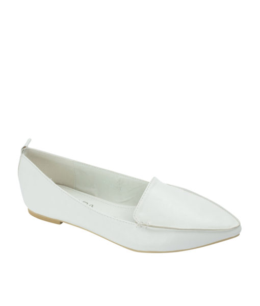 AnnaKastle Sleek Pointed Toe Womens Smoking Slippers White