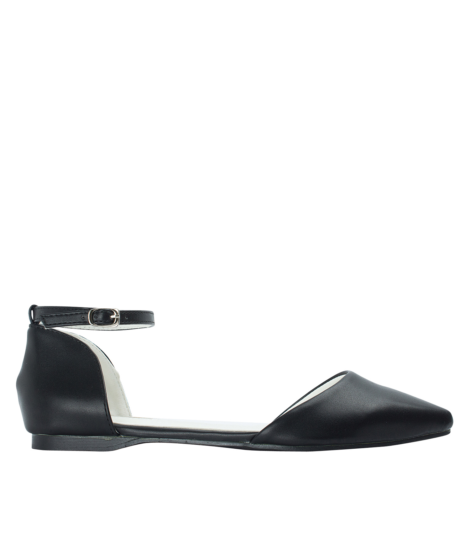 AnnaKastle Womens Pointed Toe Ankle-Strap d'Orsay Flats Black