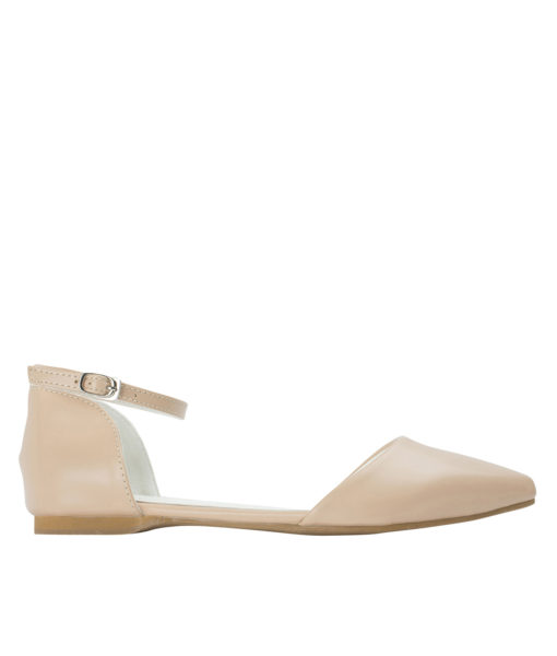 AnnaKastle Womens Pointed Toe Ankle-Strap d'Orsay Flats Nude