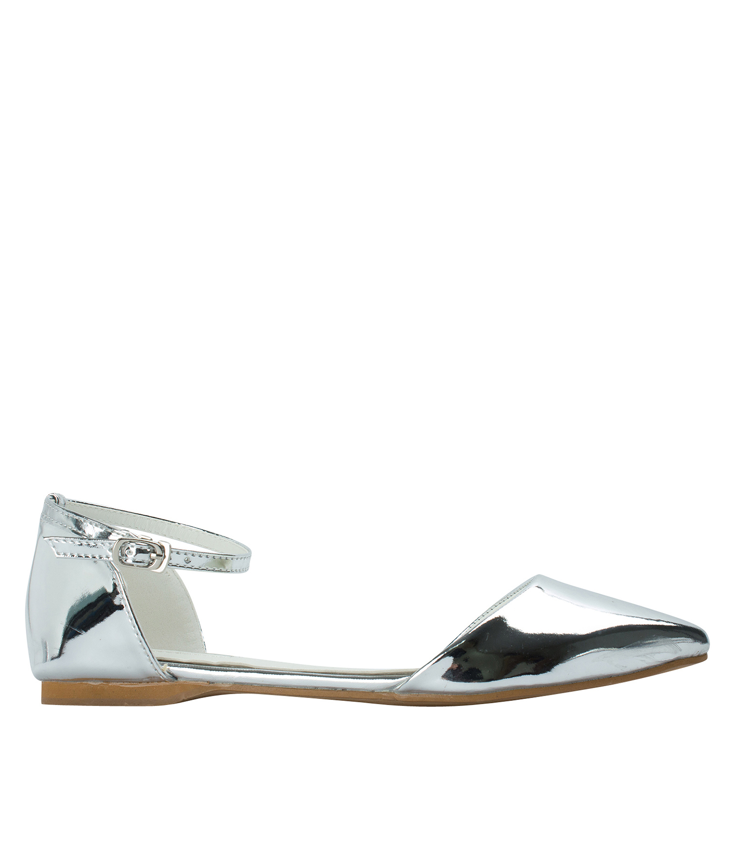 AnnaKastle Womens Pointed Toe Ankle-Strap d'Orsay Flats Silver