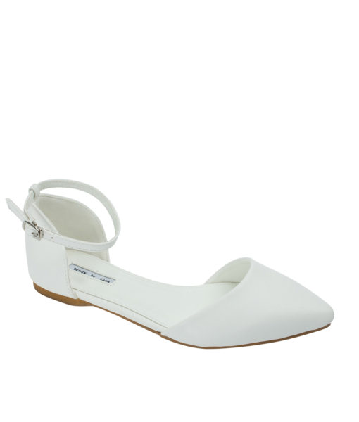 AnnaKastle Womens Pointed Toe Ankle-Strap d'Orsay Flats White