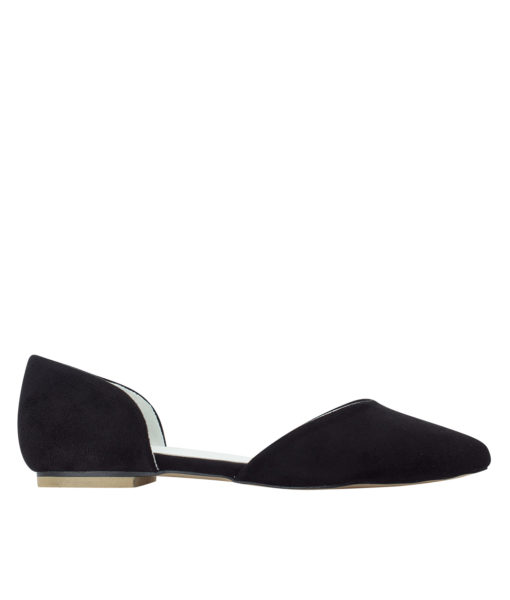 AnnaKastle Womens Pointed Toe Faux Suede d'Orsay Flats Black