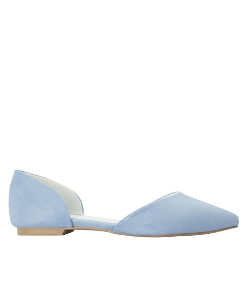 AnnaKastle Womens Pointed Toe Faux Suede d'Orsay Flats LightBlue