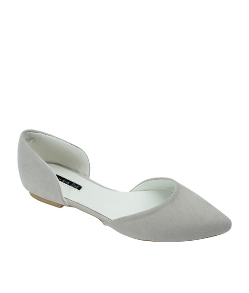 AnnaKastle Womens Pointed Toe Faux Suede d'Orsay Flats LightGray