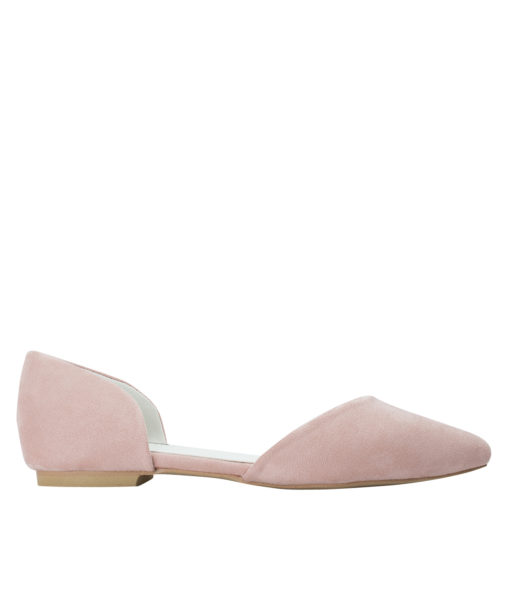 AnnaKastle Womens Pointed Toe Faux Suede d'Orsay Flats LightPink