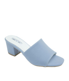 AnnaKastle Womens Faux Suede Open Toe Mules Light Blue