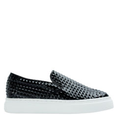 AnnaKastle Womens Pyramid Embossed Slip-on Sneakers Black