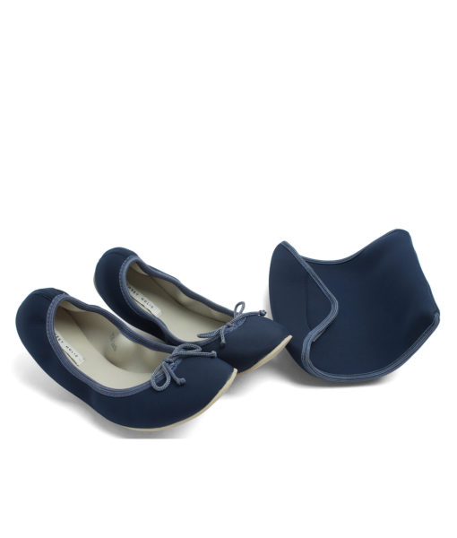 AnnaKastle Womens Neoprene Foldable Ballet Flats Cool Colors Navy