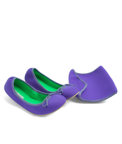 AnnaKastle Womens Neoprene Foldable Ballet Flats Cool Colors Violet