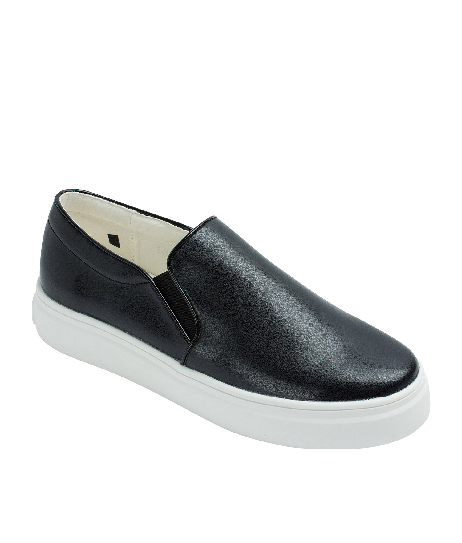 Annakastle Womens Classic Faux Leather Slip-On Sneakers Black