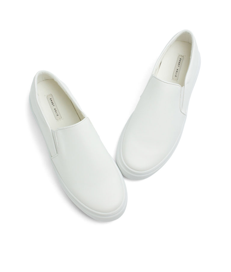 Annakastle Womens Classic Faux Leather Slip-On Sneakers White