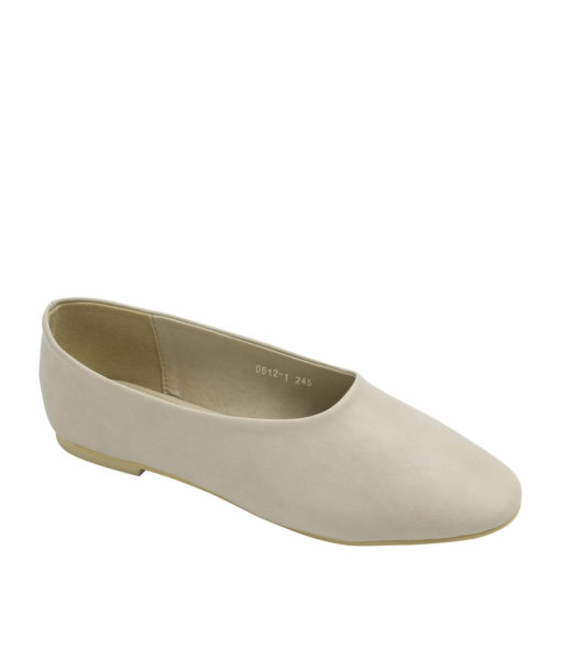 AnnaKastle Womens Classic High Cut Ballet Flats Beige