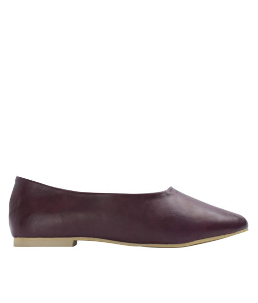 AnnaKastle Womens Classic High Cut Ballet Flats Burgundy