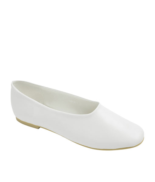 AnnaKastle Womens Classic High Cut Ballet Flats White