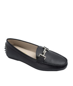 AnnaKastle Womens Metal Bit Driving Loafers Black